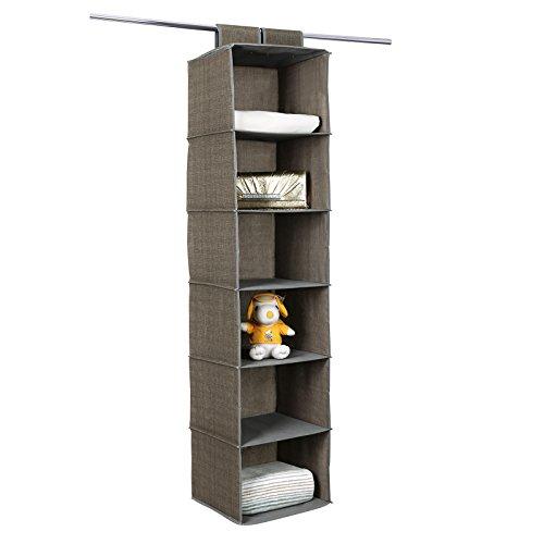 SONGMICS Update 6-Shelf Hanging Closet Organizer Accessory Storage Shelves Light Brown URCH08K