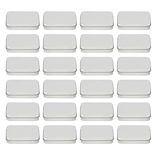 Bekith 24 Pack Metal Hinged Top Tin Box Rectangular Tin Empty Box Mini Portable Containers Small Storage Kit
