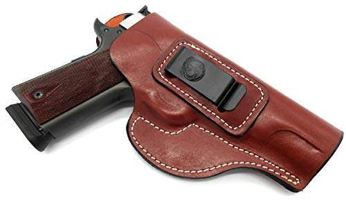 "HOLSTERMART USA Right Hand IWB Inside Pants Clip-On Concealment Holster in Brown Leather for 5"" Nonrail 1911 Kimber RIMFIRE Target, Tactical Custom II, Eclipse Custom, Royal II, etc."