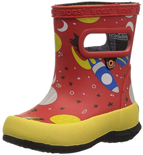 Bogs Kids' Skipper Waterproof Rubber Rain Boot for Boys and Girls,Space Print/Red/Multi,4 M US Toddler