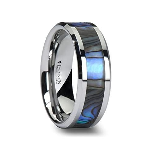 Tungsten Wedding Band with Mother of Pearl Inlay 8mm Tungsten Carbide Ring (Abalone Inlay Band Ring)