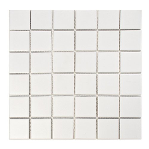 SomerTile FXLM2SMW Retro Square Porcelain Floor and Wall Tile, 12.25
