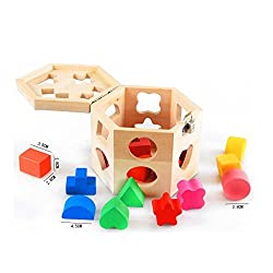 OWIKAR Wooden Shape Sorting Box Hexahedron Shape Sorter Intelligence Box 15 Holes Kids Baby Toy Educational Toys Shape Matching Blocks For Toddlers Children Age 2 and Up
