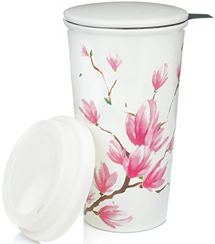 Ceramic Travel Mug with Lid. Magnolia Double-Walled Tea Cup with Tea Infuser and Bonus Silicone Top. Tall Coffee and Tea Mug Single Steeps Tea Cups Loose Leaf Tea - 12oz Tea Mugs Tea Steeper