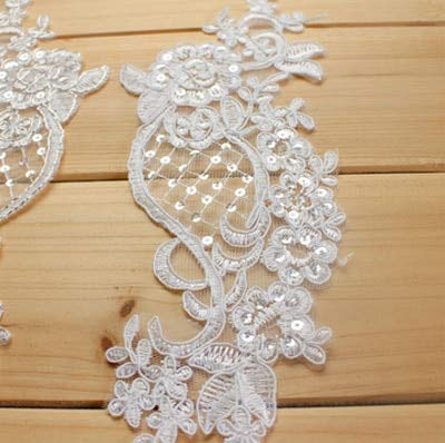 Fabric Lace - 2 Pieces White Red Flower Lace Fabric Decoration for Garment Accessories Sew On Cloth Costura Craft ()