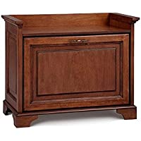Small Space Tilt Out Shoe Storage Bench Entryway Seat Chestnut or Walnut Finish Holds 9 Pairs of Shoes (Walnut)