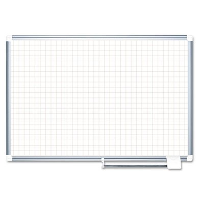 MasterVision Magnetic Dry Erase Planning Board with 1'' Grid, 72 x48'', Aluminium Frame by Bi-silque