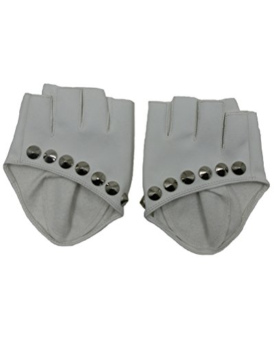 Modishou Women's Fingerless Rivets Punk Gloves A Pair White