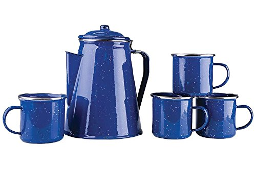 - Stansport 8 Cup Enamel Percolator with Four Enamel Mugs, 12-Ounce