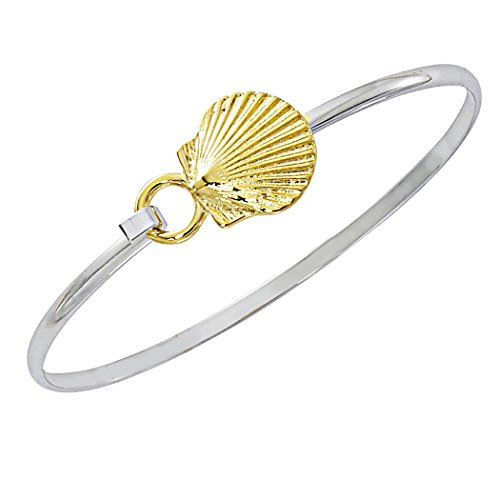 Gold Scallop Shell Bracelet - Cape Cod Jewelry-CCJ Scallop Shell Bracelet Latch Cuff