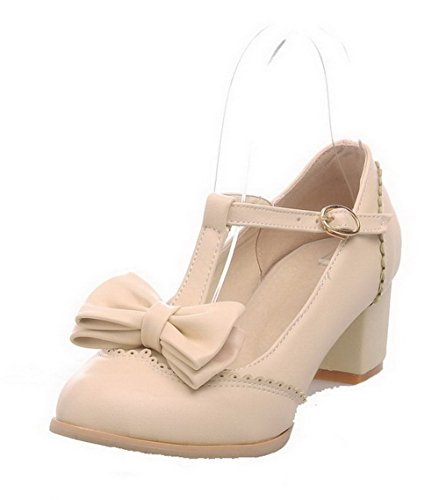 Allhqfashion Womens-talloni Fibbia Solida Pu Décolleté Tacco-scarpe Beige