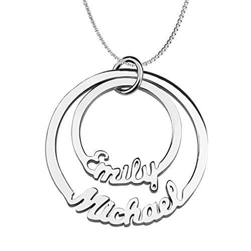 Ouslier Personalized 925 Sterling Silver Couple Name Necklace Custom Made with 2 Names 14