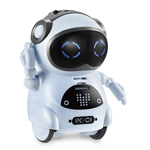 Haite Mini Robot, Pocket Robot for kids with Interactive Dialogue Conversation, Voice Recognition, Chat Record, Singing&Dancing, Speech Recognition, Electric Small Robot toy gift for kids 3+,Blue