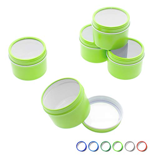 Mimi Pack 4 oz Tins 24 Pack of Deep Window Top Round Tin Containers with Lids For Cosmetics, Party Favors, Gifts and Food Storage (Lime Green) (Tin Deep Container)