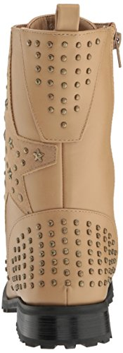 Gia Mia Women's Star Studded Combat Boot, Black, Tan, 5,6,7,8,9,10,11,12,13 Tan