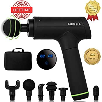 Image of [2020 Newest] Massage Gun Deep Tissue Percussion Muscle Handheld One-Click Electric Body Fascia Massager Sports Drill Portable Super Quiet Brushless Motor with 6 Massage Heads and 6 Adjustable Speed