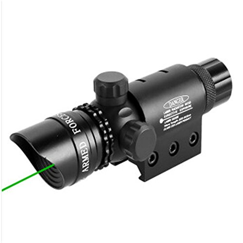 MBMAH Shockproof 532nm Tactical Green Dot Laser Sight Rifle Gun Scope w/Rail & Barrel Mount Cap Pressure Switch Rechargeable CR123A Battery Charger