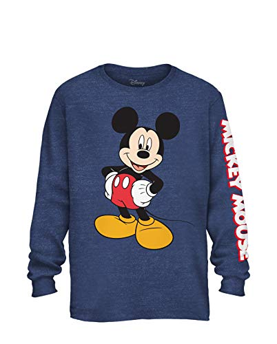 Mickey World T-shirt Mouse - Disney Mickey Mouse Wash Disneyland World Funny Humor Men's Graphic Long Sleeve Shirt (Navy Heather, Large)