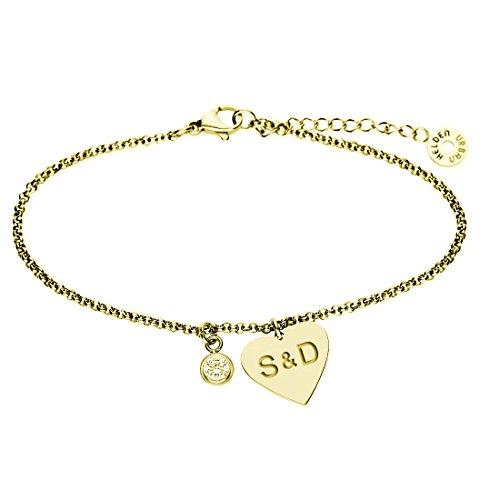 Edelstahl Herz Herzarmband G20 Armkette Armschmuck und o Gold Gold Schmuck  Armband URBANHELDEN Gravur mit Anhänger ... 1bc7e3ee3e