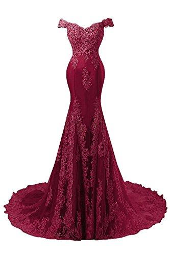 Satín JAEDEN Novia Sirena de de Mujer de Vestido Vestido Largo Encaje Baile Vestidos Noche Borgoña OnqOFPr
