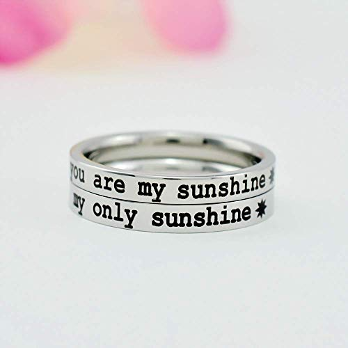 Band Mom Ring - you are my sunshine my only sunshine - Dainty Stainless Steel Stacking Band Ring Set of 2, Mom Daughter Sisters Kids Family Love, Personalized Gift for Mother's Day, Birthday, Christmas, V1