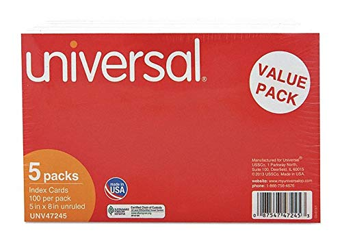 Universal One UNV47245 - Index Cards Unruled 5inx8in Size PK500 Pack of 2 by Universal One