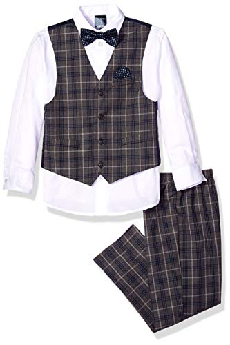 Nautica Boys' 4-Piece Vest Set with Dress Shirt, Bow Tie, Vest, and Pants, dark charcoal heather, 2T