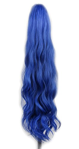 Yuehong Long Wavy 21'' Colorful Clip In/On Hair Extensions Piece Curly Claw Ponytail wig (Blue) by yuehong