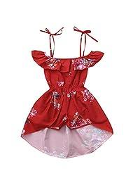 ZEFOTIM Toddler Baby Girls Off Shoulder Floral Print Ruffles Pantskirt Outfits Sets 6-24M 2-4Y