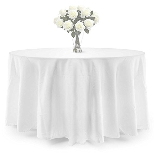 Lann's Linens PREMIUM WEIGHT Polyester Tablecloth - for Wedding, Restaurant or Banquet use - 70 in. Round, White