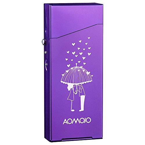 Ladies Aluminum Metal Cigarette Case Tobacco Box Ultra-Thin Fancy Cigarette Holder with Special Design (Purple)