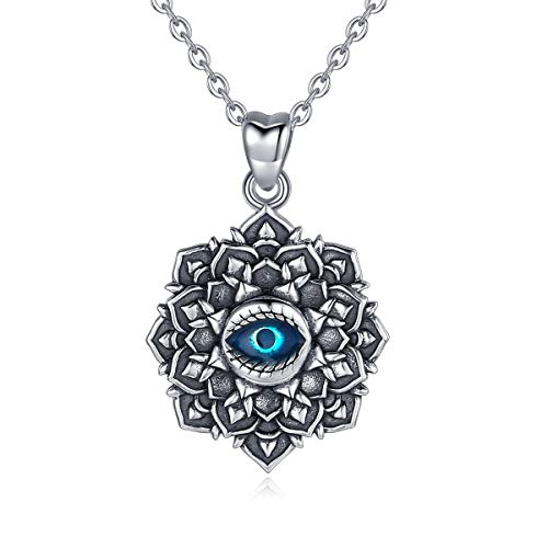EUDORA Good Luck Blue Evil Eye Vintage Sterling Silver Necklace Pendant, Gift for Women Girl, 18 inch Chain