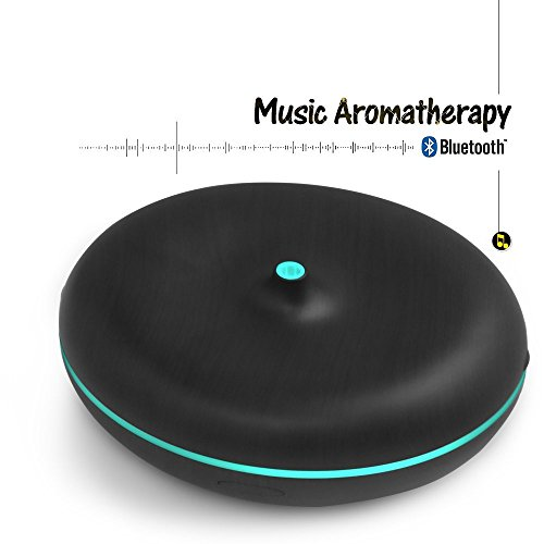 a aromacare Aromatherapy Essential oil diffuser, Oil Diffuser Bluetooth Speaker 4.0 with Bass Sound - Ultrasonic Cool Mist Humidifier 350ml Black for Cars, Kids, Home, Office with 7 Color LED Lights