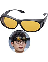f07a6705f9 Night Vision Fit Over Glasses Sunglasses Yellow for Men Women Driving  Polarized Anti-Glare