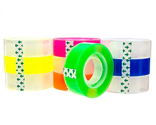 Transparent tape 10 Rolls | Bundle Pack 5 Clear + 5 colors Yellow Orange, Pink, Blue, Green | 3/4inch by 1,150 inches each | Safe & Great for arts and crafts Students , office, mail ,Construction Photo #5