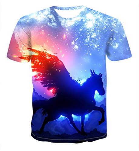 Genuxury Fashion Mens 3D Digital Printed Horse Design Pattern T-Shirts Top Tees ()