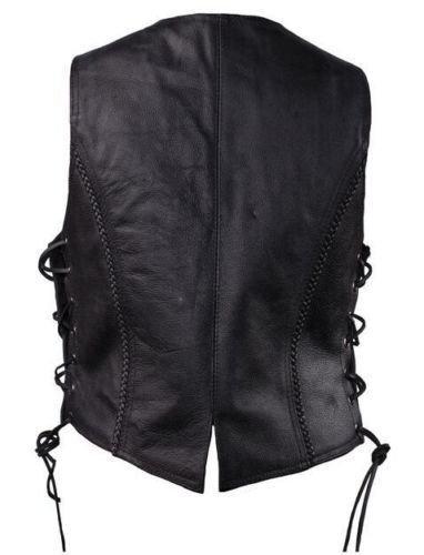 Dealer Women's Motorcycle Biker Classic Braided Side Lace Leather Vest 2 Gun Pockets by Dealer