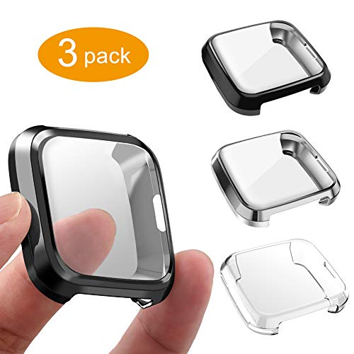 3 Packs Screen Protector Compatible Fitbit Versa Lite Edition, GHIJKL Ultra Slim Soft Full Cover Case for Fitbit Versa Lite Edition, Crystal Clear, Black, Silver