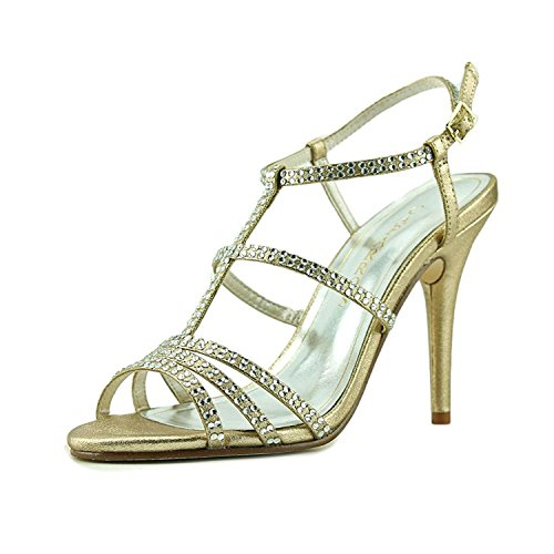 Caparros Womens Groovy Open Toe Special Occasion Strappy Sandals, Gold, Size 5.0