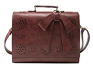 Amazon.com: ECOSUSI Ladies PU Leather Laptop Bag Briefcase ...