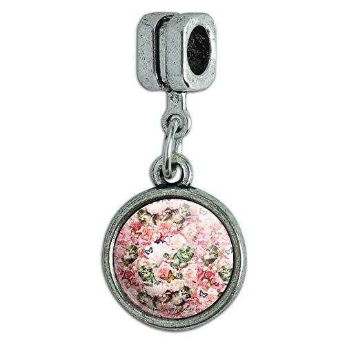 (GRAPHICS & MORE Kittens Cats Pink Flowers Butteflies Pattern Italian European Style Bracelet Charm Bead)