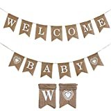 : LOLOAJOY Welcome Baby Banner Vintage Burlap Banner Linen Flags Decorative for Baby Shower Boy Girl Party Decoration