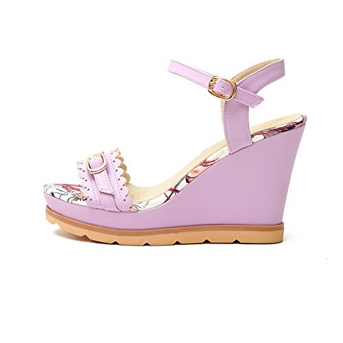 AmoonyFashion Womens Buckle High Heels PU Solid Open Toe Sandals Purple pxqrjK2jB