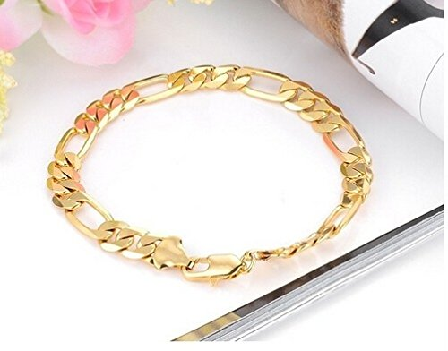 Size: One Size, Color: Gold Size: Single, Color: Gold 18K Gold Personalized Jewelry Mens Bracelet