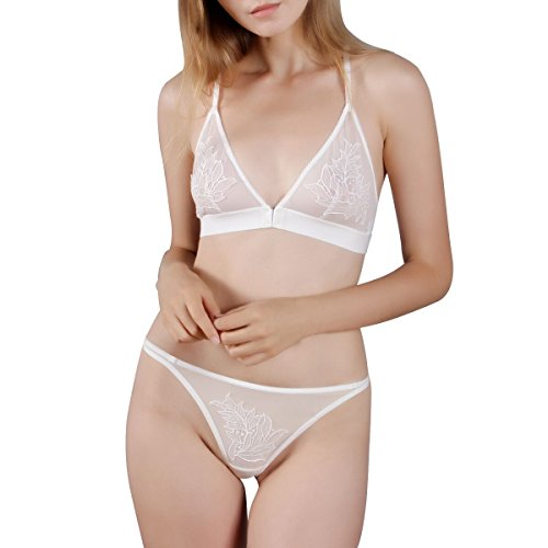 HSIA Women's Wireless Bralette Triangle Crochet Cup Strappy Back Bra and Sexy Panty T-string Set