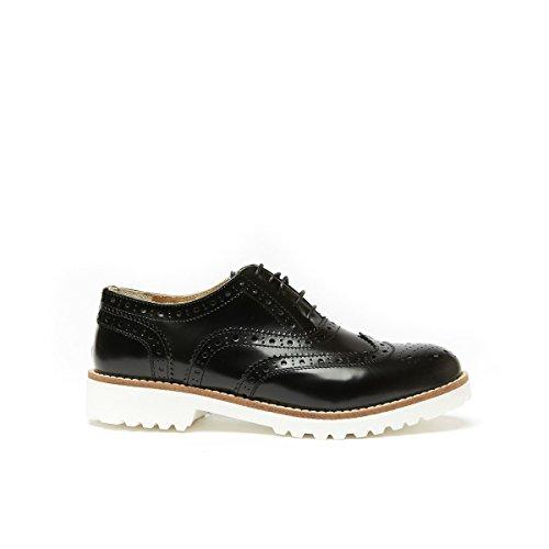 Frank Mujer Oxford Para Negro de Piel Negro Zapatos de Daniel Cordones rpOSq8rP