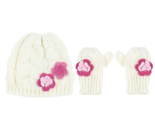 Capelli New York 2 Piece Set: Acrylic Cable Knit Skull Cap With Flowers & Mittens Pink Combo 2-4