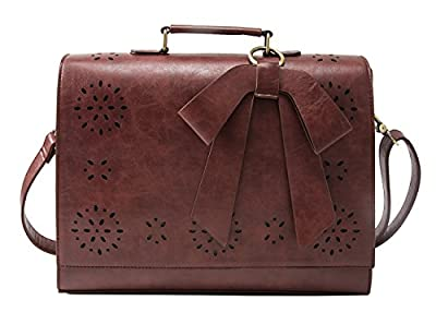 """ECOSUSI Ladies Faux Leather Briefcase Shoulder Laptop Messenger Bags Satchel Bag Fit 14"""" Laptop"""