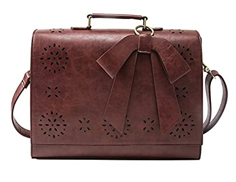 ECOSUSI Ladies PU Leather Laptop Bag Briefcase Crossbody Messenger Bags Fit 14