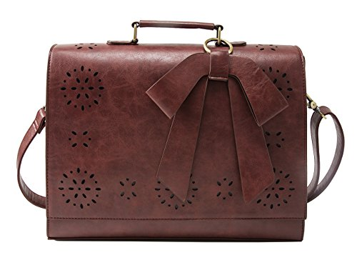 ECOSUSI Ladies PU Leather Laptop Bag Briefcase Crossbody Messenger Bags Satchel Purse Fit 14